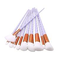 10pcs Brosse de Maquillage de Licorne Brosse Poudre Contour Blush Correcteur Fondation Pinceaux Cosmétique Brosse Set Outils (violet clair)