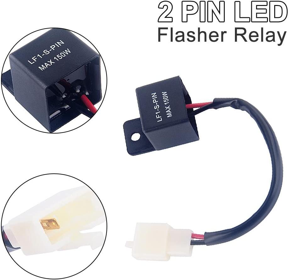 2-Pin Electronic LED Flasher Relay FIX Motorcycle Turn Signal Bulbs Hyper Flash Suitable for Most Honda,Kawasaki Turn Light Flasher Relay Yamaha Motorcycles