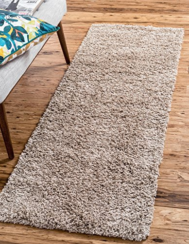 Unique Loom Solo Solid Shag Collection Modern Plush Taupe Runner Rug (2' x ()