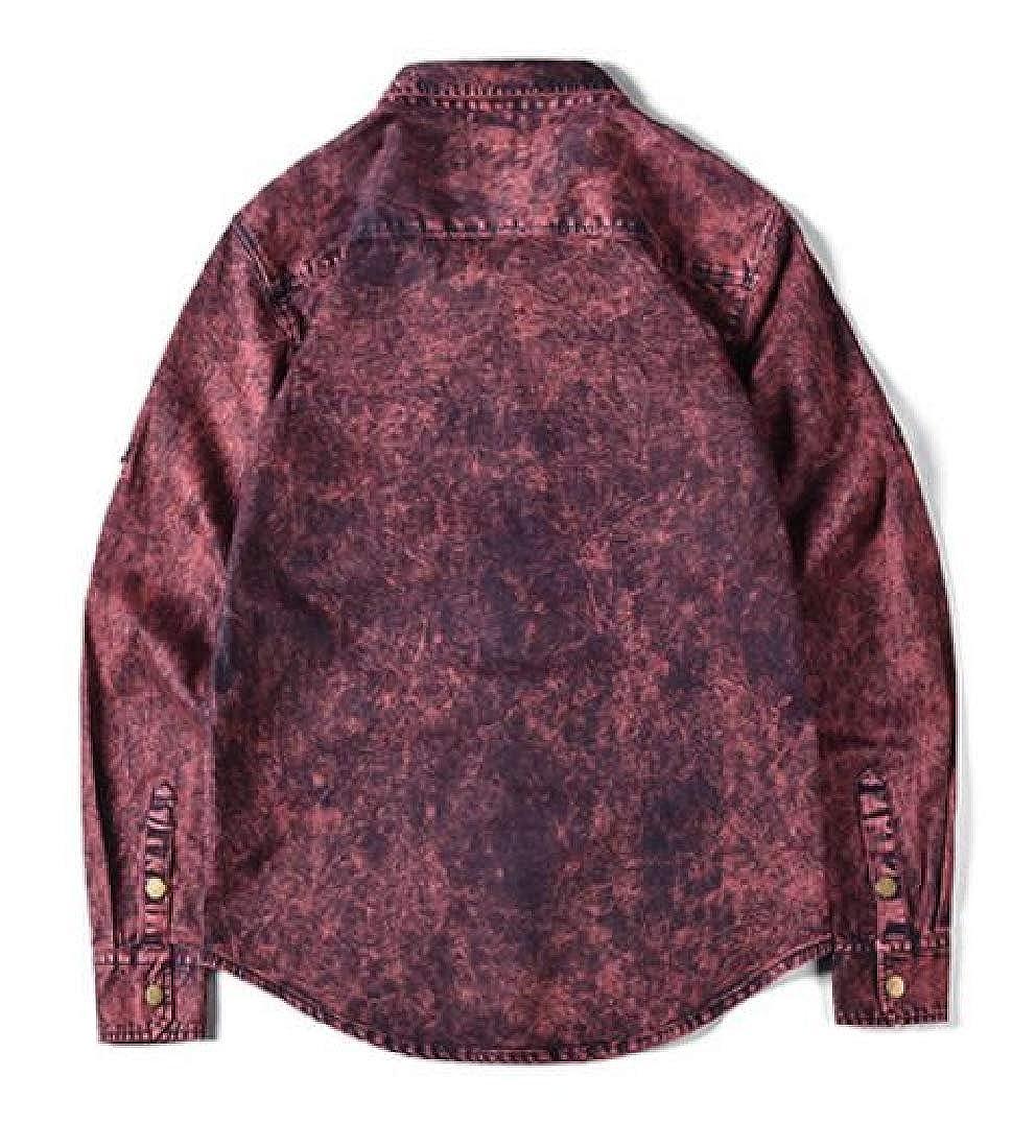 pipigo Mens Autumn Button Up Printed Long Sleeve Casual Shirts