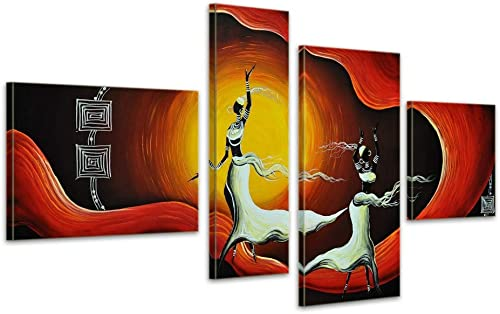 Noah Art-Modern African Art, 100 Hand Painted African Woman Dancer Abstract Oil Paintings on Canvas, 4 Piece Framed Gallery Wrapped African Wall Art for Bedroom Home Decor