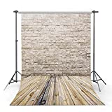 COMOPHOTO Vintage Wood Floor Yellow Brick Wall Backdrop for Photography 5x7ft Thin Vinyl Baby Photo Background for Photo Booth Backdrop for Pictures