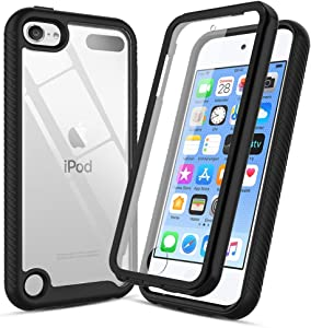 CaseRoo for iPod Touch 7th Generation Case,iPod Touch7/6/5 Phone Case with Built-in Screen Protector,Shockproof Bumper Clear Phone Cover for Apple iPod 7th/6th/5th Gen -Black