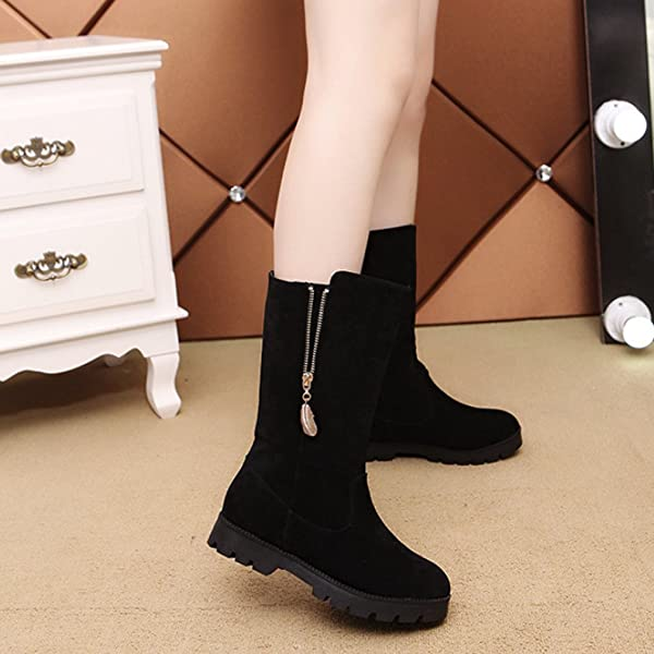 d6f6ae55997 Ladies Women Boots Ankle Leather Under Knee Casual Boots Size UK 5 6 7 8  Zip Stretch Extra Wide Mid Calf Black Grey