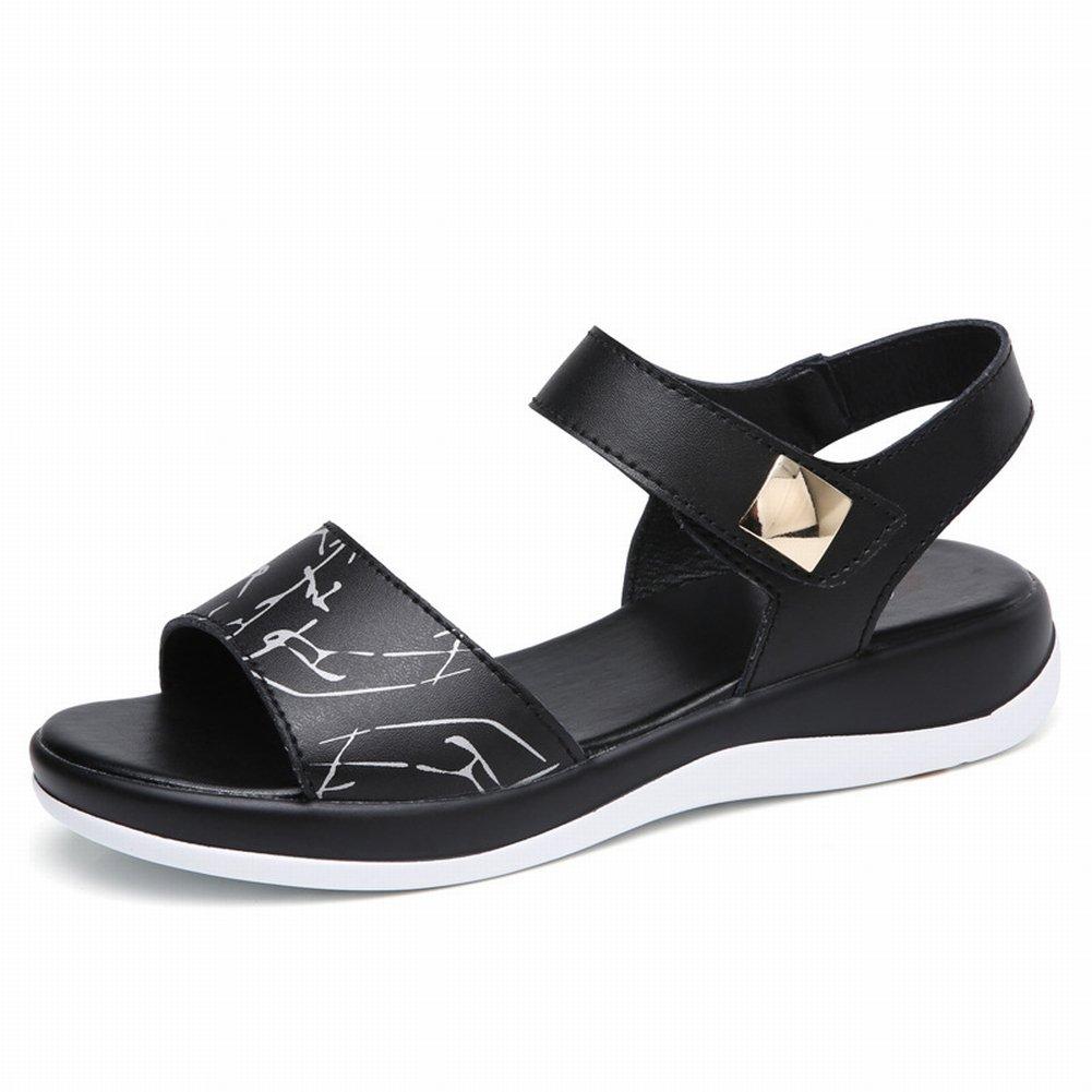 YTTY Mode Gedruckt Sandalen Komfort All-Match-Schuhe Leder Hohe Frauen Sandalen  38|Schwarz
