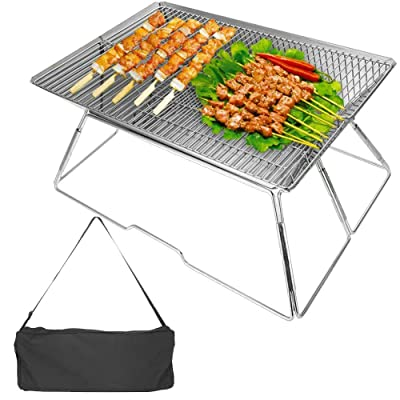 beautygaga GaGa Portable Foldable Folding Barbecue BBQ Charcoal Grill Shelf Rack Lightweight for Outdoor Grilling Cooking Camping Hiking Picnics Party: Garden & Outdoor