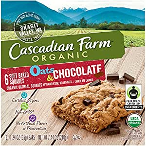 Cascadian Farm Organic Oats and Chocolate Soft Baked Squares, 6 Count
