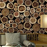 Blooming Wall Vintage Unique Wood Growth Ring Wallpaper Roll Wall Paper for Livingroom Bedroom Kitchen 20.8'' x 393.7'' (8K053)