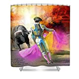 Pixels Shower Curtain (74'' x 71'') ''The Man Who Fights The Bull''