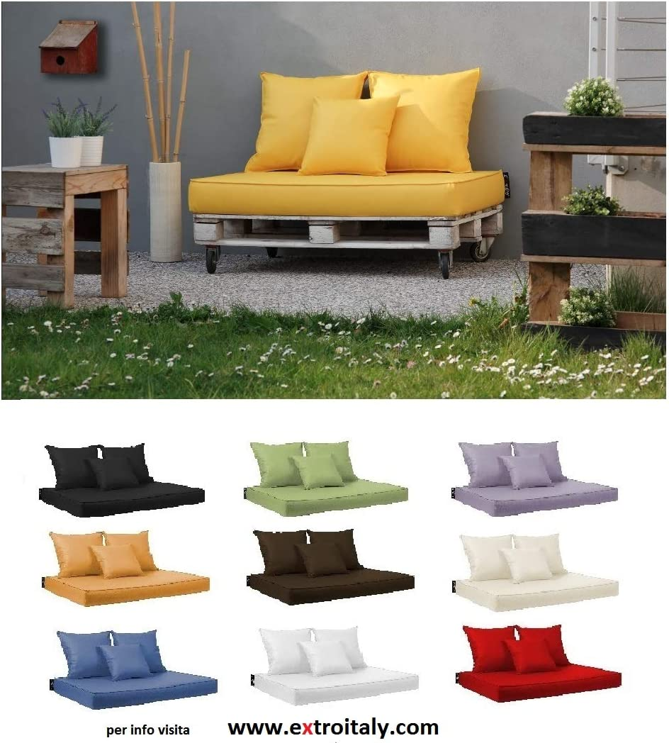 disponibles en 10/couleurs BIANCO Bavaro Coussins pour palettes en bois d/éhoussables tissu simili-cuir hydrofuge