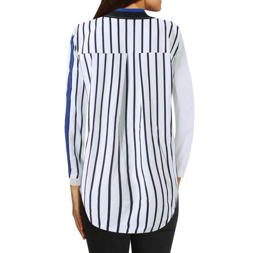 Blouses For Womens,Clearance Sale!!Farjing Womens Casual Long Sleeve Color Block Stripe Button T Shirts Tops Blouse (L, Multicolor 4) by Farjing (Image #3)