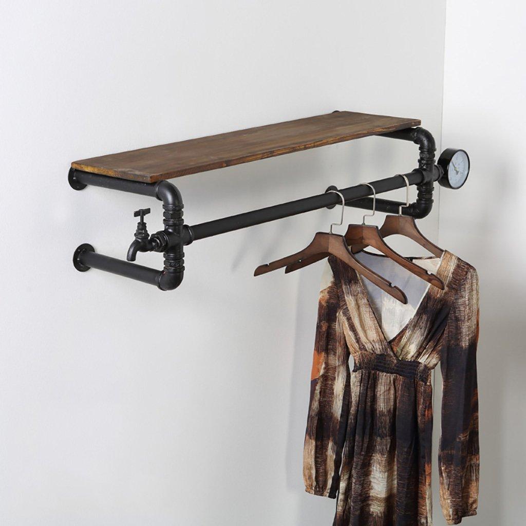 Pareti attrezzate Abbigliamento rack stand di visualizzazione del gancio del negozio di abbigliamento retro vecchio fa i montanti del tubo di acqua solido appendiabiti appendiabiti appendiabiti a parete Mensola industriale ( dimensioni : 70c ) BaoFL