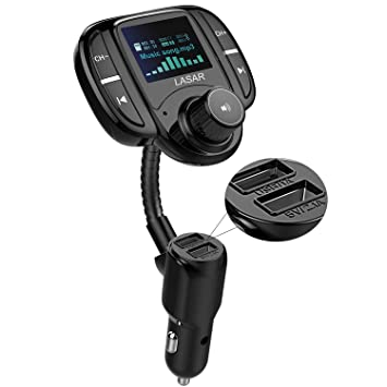 Wireless Radio Adapter Hands-Free Kit with 1.7 Inch Display TF Card Mp3 Player Upgraded Version AUX Input//Output QC3.0 and Smart 2.4A USB Ports Blue Sumind Car Bluetooth FM Transmitter