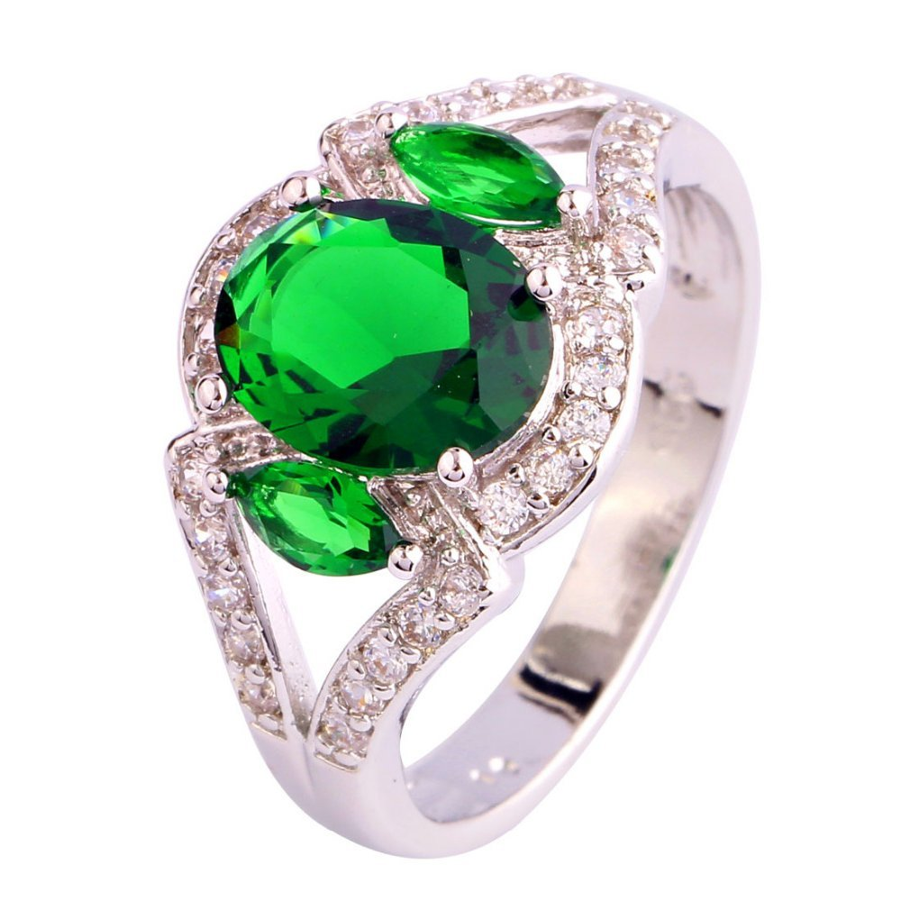 FT-Ring Oval Cut Green Emerald Quartz Jewelry Ring For Women Wedding Bridal Rings