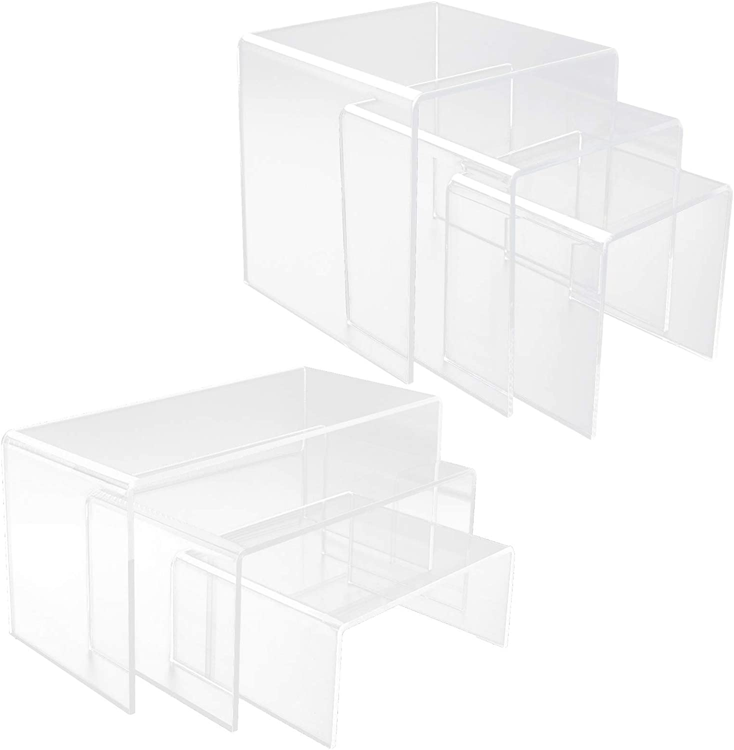 Abuff Acrylic Display Risers, 6 Size Steps Clear Acrylic Display Stand, Retail Displays for Figure Collection Jewelry, Clear Cake Stands Risers for Cup Cake Buffet
