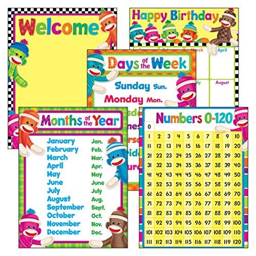 Trend Enterprises aula Basics calcetín monos aprendizaje Chats Combo Pack (5piezas), 43.2x 55.9cm