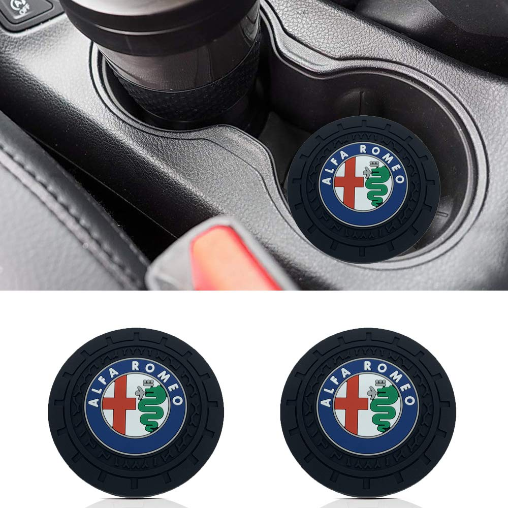 monochef Auto Sport 2.75 Inch Diameter Oval Tough Car Logo Vehicle Travel Auto Cup Holder Insert Coaster Can 2 Pcs Pack Fit Alfa Romeo Accessory
