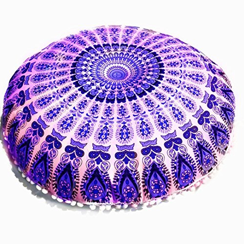 Clearance Sale,KIKOY Large Mandala Floor Pillows Round Bohemian Meditation Cushion Cover Ottoman Pouf (Multicolor D)]()