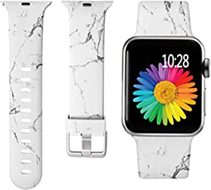 Laffav Compatible with Apple Watch Band 40mm 38mm iWatch SE & Series 6 & Series 5 4 3 2 1 for Women Girls, White Marble, S/M