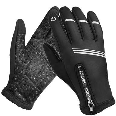 9706ff86d4d1b1 Winterhandschuhe, Wasserdicht Thermo Handschuhe Skihandschuhe für Herren  mit Touchscreen-Fingerspitzen für Ski,Radfahren