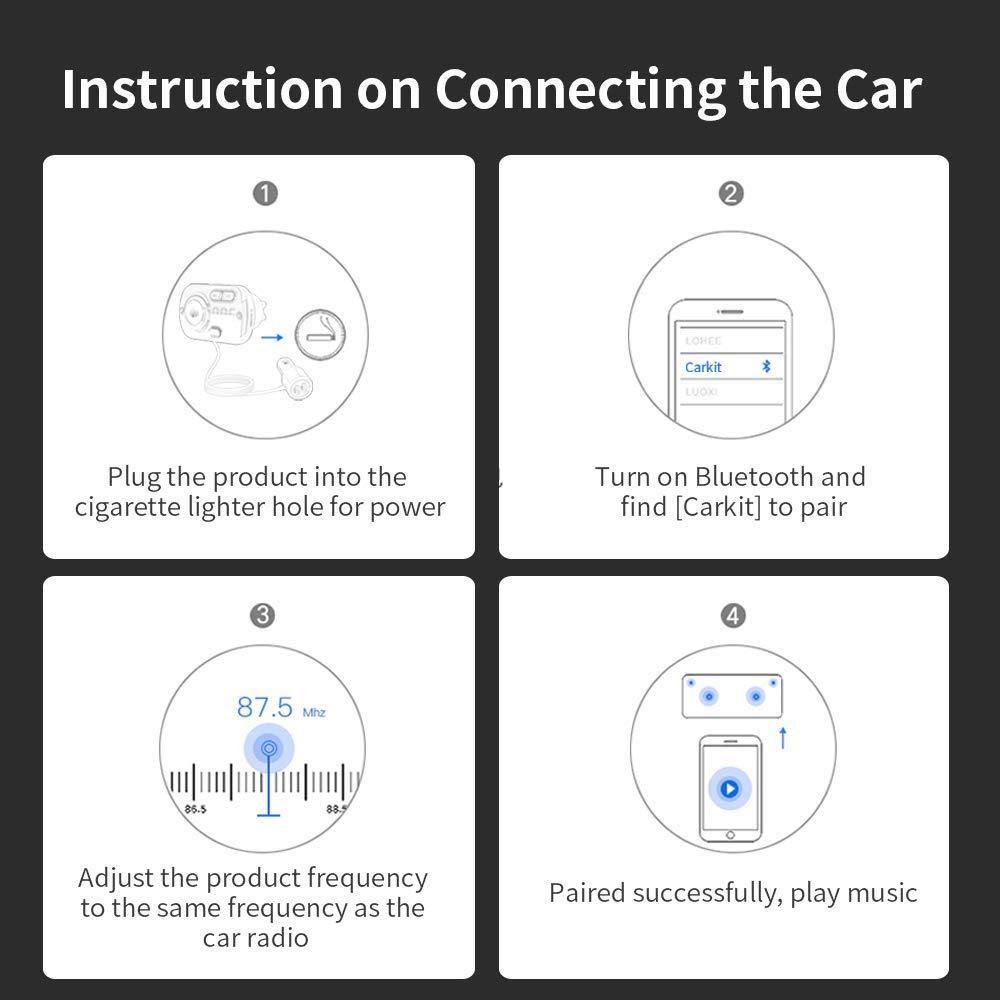 QC 3.0 e 2.4A Nero Trasmettitore FM Bluetooth 5.0 per Auto con Due Porta USB Radio Bluetooth Auto Supporta Scheda TF e AUX Chiamate Vivavoce Supporto Siri con Luce 7 Colori Ricevitore Bluetooth