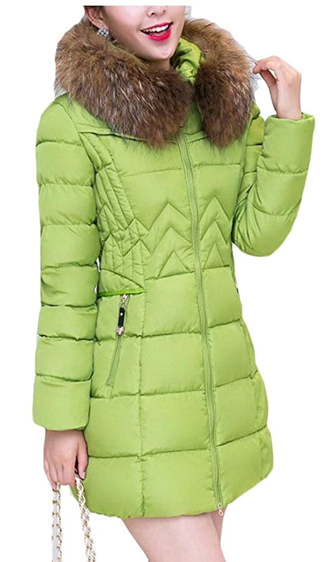 ce30807701ab security Women s Mid Long Winter Hooded Thick Faux Fur Warm Slim Jacket Coat  Green M  Amazon.in  Clothing   Accessories