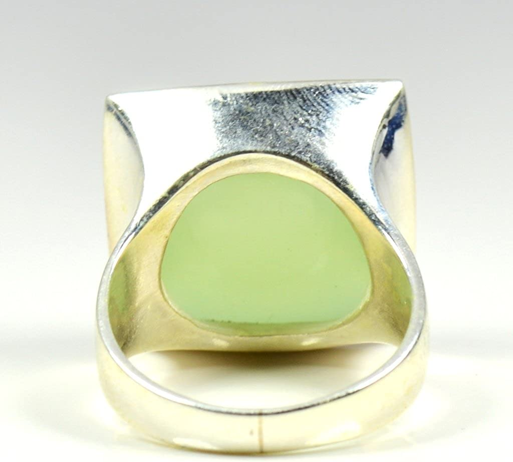 Jewelryonclick Genuine Square Cut Prehnite Ring Sterling Silver For Men Size US 4 to 12