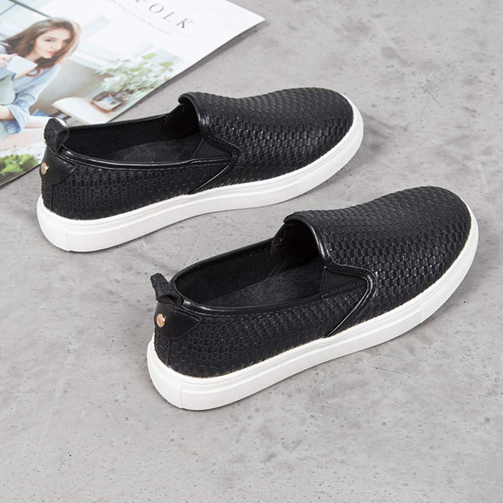 ✔ Hypothesis_X ☎ Women's Preforated Slip On Sneakers Roman Plus-Size Flat Casual Pumps Shoes Black by ✔ Hypothesis_X ☎ Shoes (Image #4)