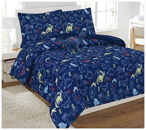 Elegant Home Dinosaurs Design Fun 8 Piece Comforter Bedding Set for Boys / Kids Bed In a Bag With Sheet Set & Decorative TOY Pillow # Dinosaur Navy 2 (Full)