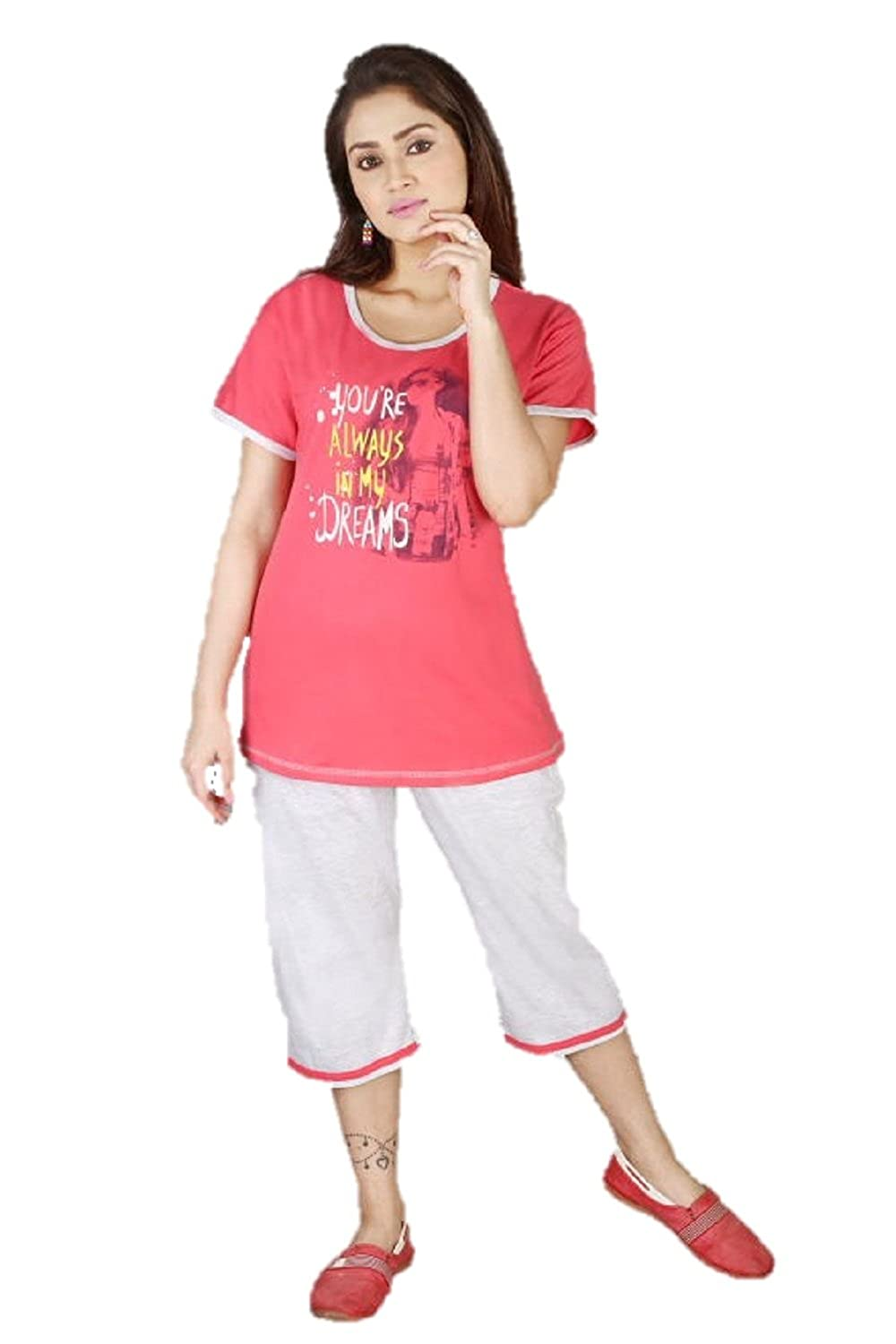 f7a8733e8c8e MUSE Nightwear for Women - Night Suit - Top   Capri Set - Cotton Sinker  Material - Half Sleeves - Sizes Available - L- Lounge Wear Active Wear Daily  Wear ...