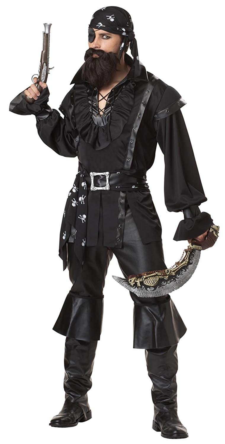 Men's Plundering All Black Pirate Costume Set with Doublet Style Pirate Shirt, Pirate Pants, a Skull and Crossbones Print Bandana, and a Waist Sash - DeluxeAdultCostumes.com