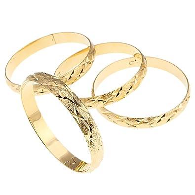 4pcs Dubai Gold Bangle Bracelet 18k Gold Plated Women Decoration Party Bangle African Ethiopian Jewelry HXA8rhg9