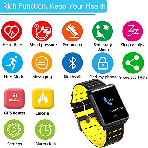1.3'' TF2 HD Screen Sport Fitness Tracker with Blood Pressure Heart Rate Monitor IP68 Waterproof Pedometer Stopwatch Smartwatch for Kid Men Women Wristband Swim Run Travel Activity Tracker iOS Android by Symfury (Image #2)