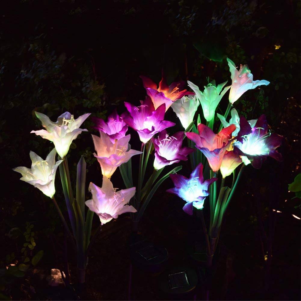 Outdoor Solar Garden Stake Lights - Solar Powered Lights with 8 Lily Flower, Multi-Color Changing LED Solar Stake Lights for Garden, Patio, Backyard (Purple and Red)) by ANMIX (Image #2)