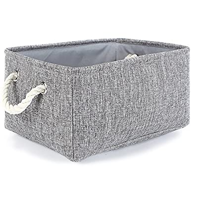 TheWarmHome Small Storage Basket Linen Storage Bins for Toy Storage,Grey - MULTI-PURPOSE:This small basket great for books,magazines,toy storage,dog toys basket,shoe basket,clothes basket,shelf,baby bin,pet toy storage,towel basket,blankets,decorations,office supplies,DVD and gifts,Decorative basket ideal for living room,bedroom,bathrooms,utility room,kids room,Nursery Room,craft room,playroom,closet,dorms,condos,laundry room,toilet or even in the hallway.Neutral color can match a lot of home styles- keeping your home nice and tidy PREMIUM QUALITY:This fabric basket is made of durable linen &Thicken Environmental EVA,sturdy metal rod frame around the top keep the basket shape,Durable and high quality material make this storage basket last a good long time.It is able to hold ton of stuffs and can last a lifetime.Lined with a thin muslin fabric.It is easy to clean,just wipe with a damp sponge or cloth STURDY ROPE HANDLE:The storage basket comes with two rope handles for easy access and for portability,rope handles for easy slide in and pull out of shelves or closet,They are attached with metal grommets to the basket and the handles themselves are made from soft cotton rope - living-room-decor, living-room, baskets-storage - 615DHrch67L. SS400  -