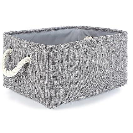 TheWarmHome Small Storage Basket Linen Storage Bins for Toy StorageGrey  sc 1 st  Amazon.com & Amazon.com: TheWarmHome Small Storage Basket Linen Storage Bins for ...