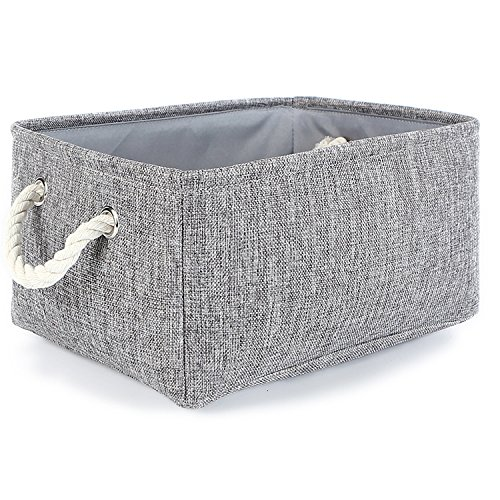 TheWarmHome Small Storage Basket Linen Storage Bins for Toy Storage,Grey (Home Decor Gift Basket)