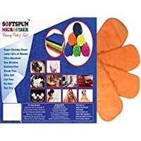 SOFTSPUN Microfiber 4 Layer Baby Diaper Inserts for Cloth Diaper, Pocket Diaper Set of 4, Large, Age 4-30 Months, Orange