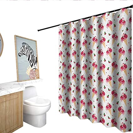 Homecoco Ice Cream Shower Curtain With Hooks Childish Pattern Melting Cranberry Cones Dripping Cherries