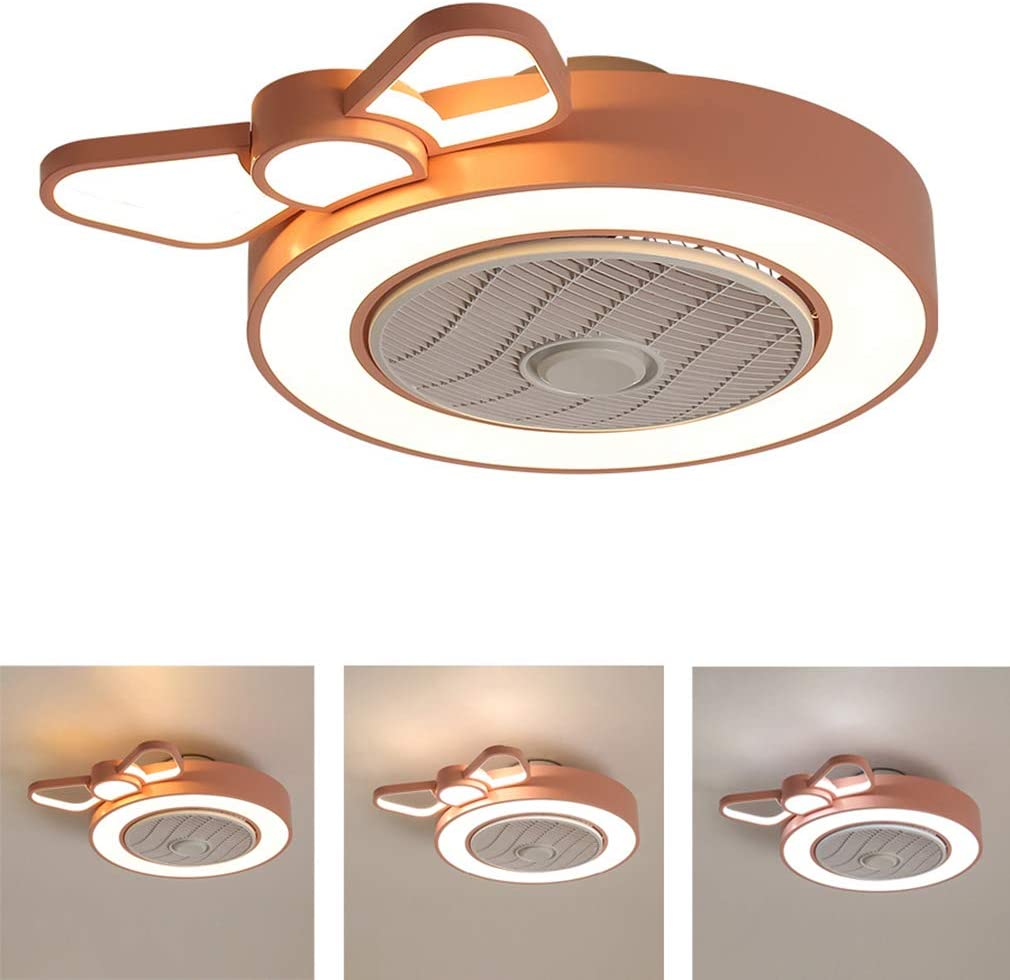 OMGPFR Cuarto de los niños Ventilador de Techo con luz Luces de Techo LED Regulable para niños Cuarto Habitación Chica Lámpara de Ventilador de Techo, Fan Mudo Ajustable Velocidad del Viento