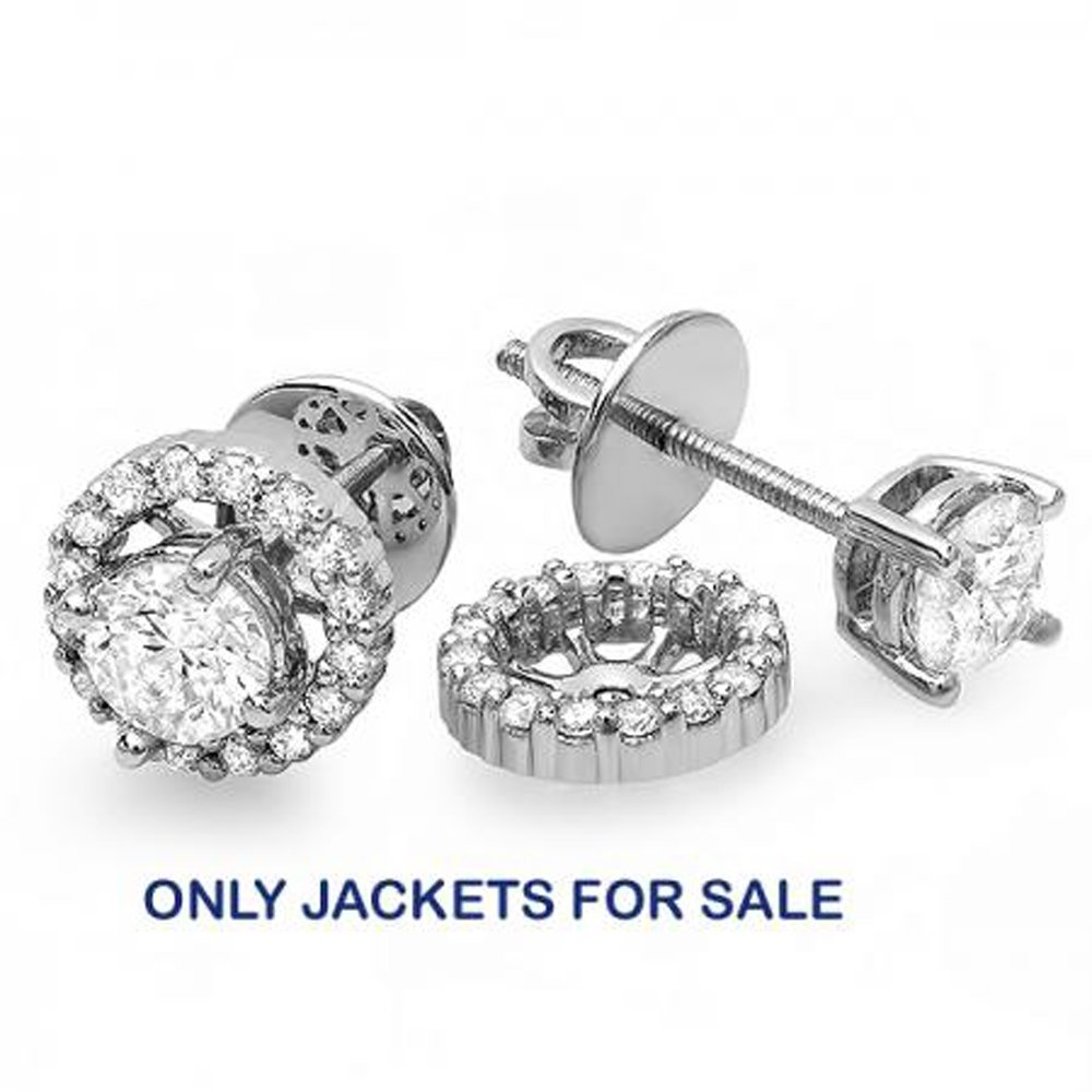 0.25 Carat (ctw) 14K White Gold Round Diamond Removable Jackets for Stud Earrings 1/4 CT