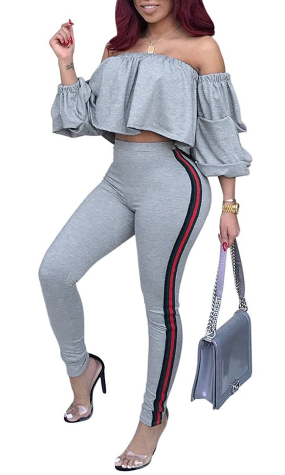 Bluewolfsea Womens Striped Jumpsuits Romper 2 Pieces Off Shoulder Outfits Ruffle Crop Top and High Waist Pants Set Jogger Large Grey