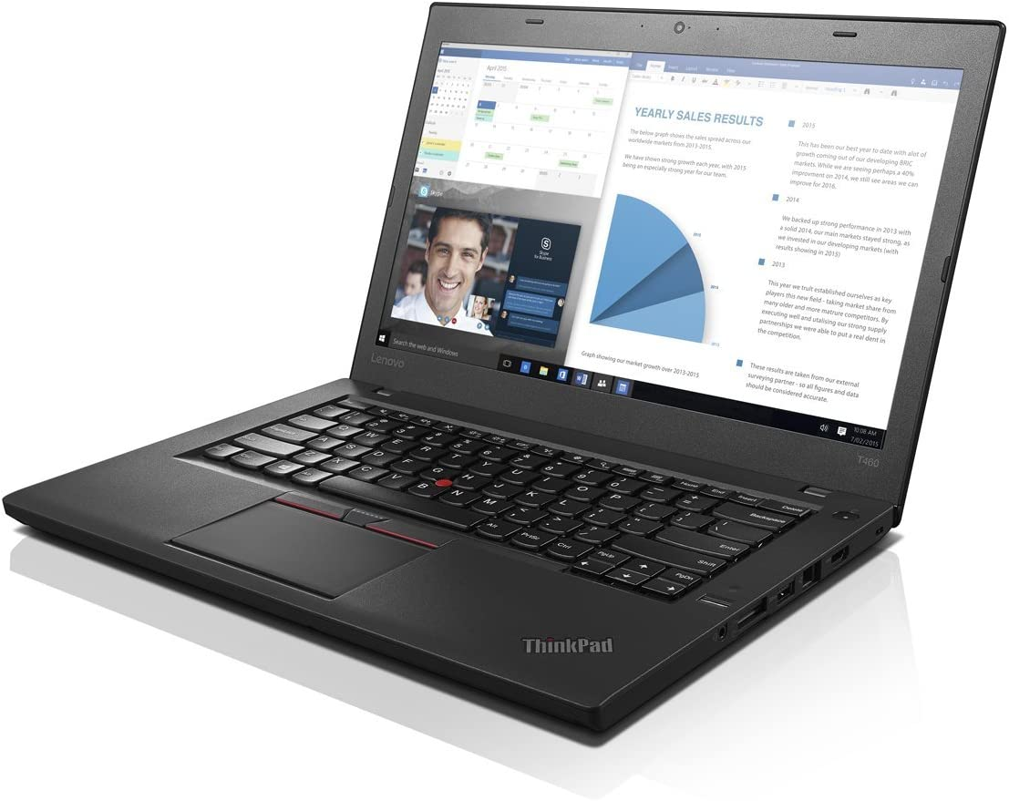 "Lenovo Thinkpad T460 Ultrabook(14"" Display, Intel i7-6600U 2.6GHz, 8GB RAM, 256GB SSD, Webcam, Backlit Keyboard, Fingerprint Reader, Windows 10 Pro) (Renewed)"