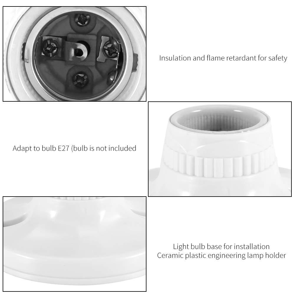 koulate Portalampada portalampada Cucina disimpegno Soggiorno LED E27 Filo portalampada in plastica Sintetica per Lampada da Laboratorio Base Leggera per Camera da Letto
