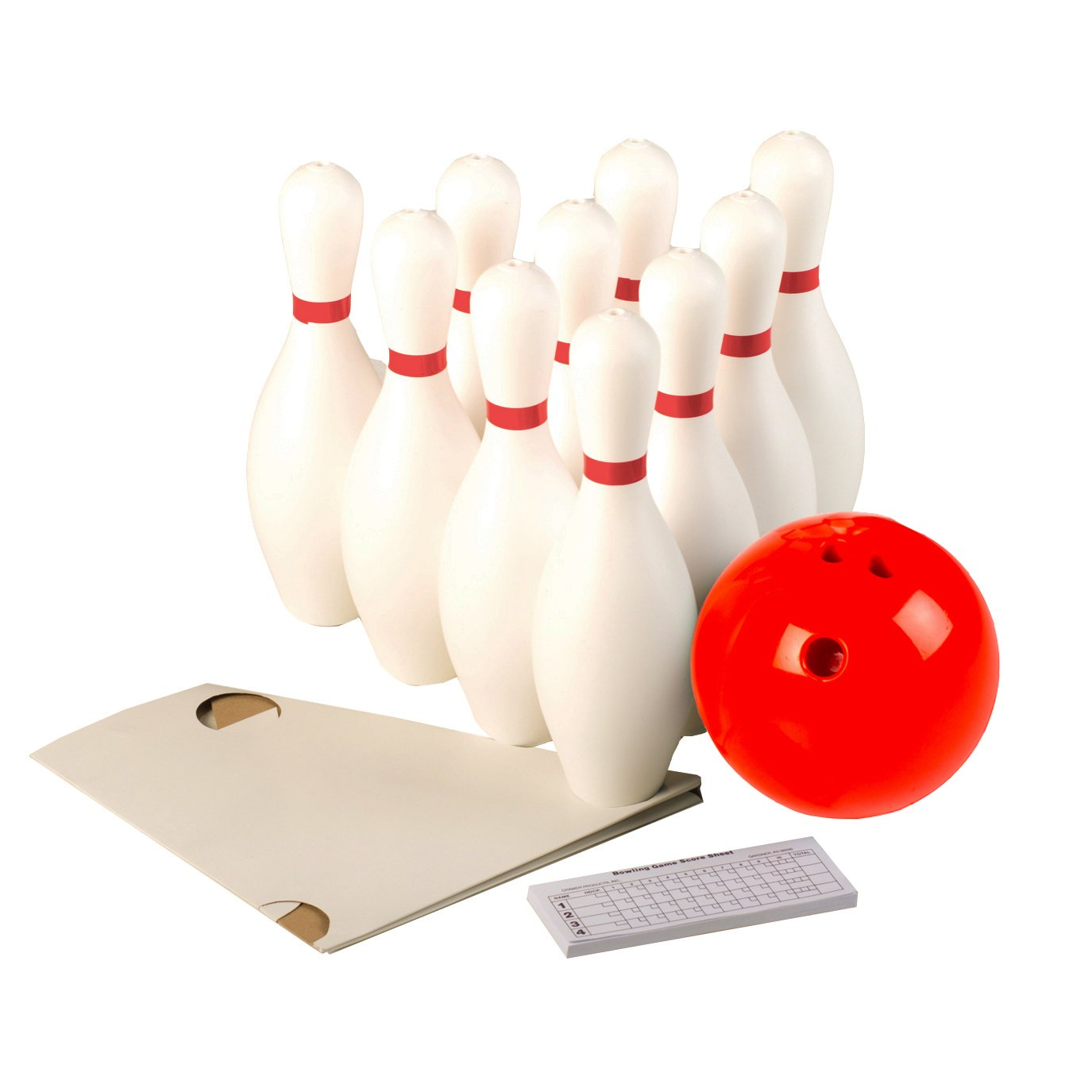 Cosom White Weighted 10 Bowling Pin Set For Youth Party Game, Kids Bowling Set, Physical Education, Regulation Height 15'', With Accessories, 3 Pound Red Rubberized Ball, Set-Up Sheet and Score Pad