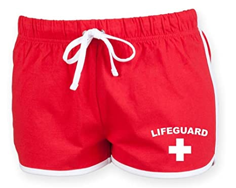 bf74dbcee36b Direct 23 Ltd LIFEGUARD Ladies Shorts (Red   White)  Amazon.co.uk ...