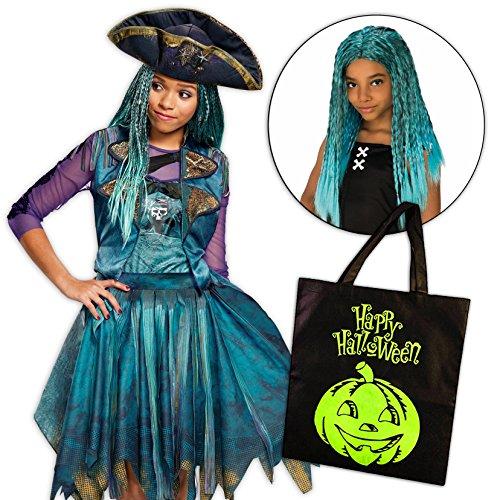 Birthdayexpress Uma Costume Descendants 2 Disney Girls Classic Isle With Wig And Treat Bag   4 6