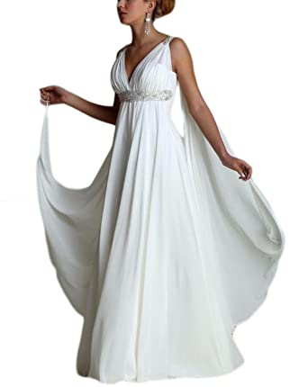 ea2ceb52cff Veilace Women s Beaded Chiffon Greek Beach Wedding Dress V Neck Pleated Backless  Bridal Gowns .. at Amazon Women s Clothing store
