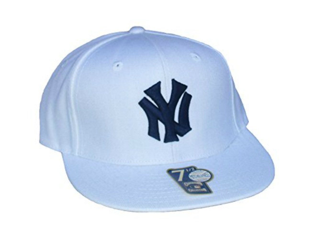 Amazon.com   New York Yankees Fitted Size 7 1 2 White Flat Bill Hat Cap    Sports   Outdoors 1695876b59f