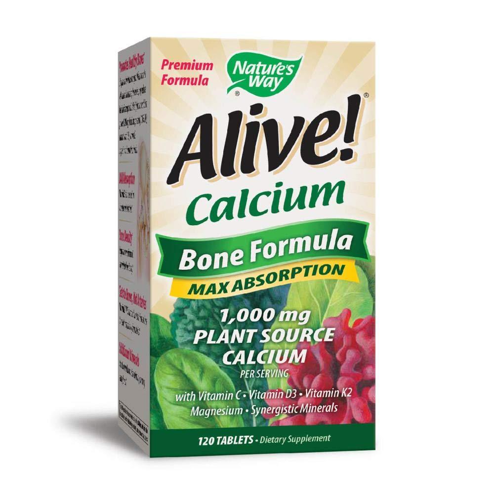 Natures Way Alive Calcium Bone Formula Tablets - 120 Ea (Pack of 3)
